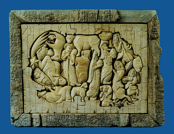 Unique nativity scene from single piece of pulai wood